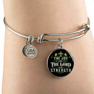 Luxury Steel Charm Bangle - Joy Of The Lord (Round)