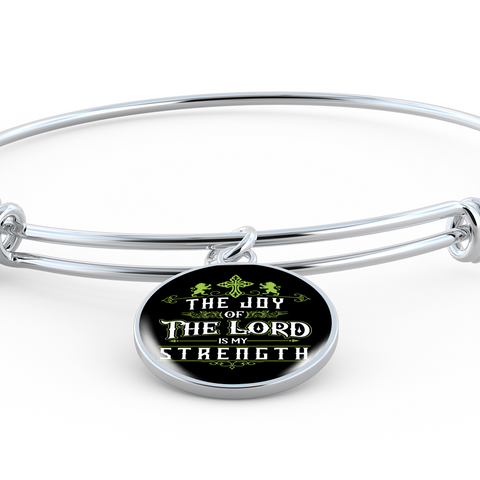 ShineOn Fulfillment Bangles Bangle-Bracelet adjustable / No Luxury Steel Charm Bangle - Joy Of The Lord (Round)