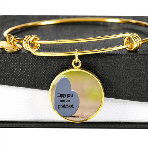 ShineOn Fulfillment Bangles Circle Pendant Gold Bangle / No Luxury Steel Charm Bangle  - Happy Girls (Round)