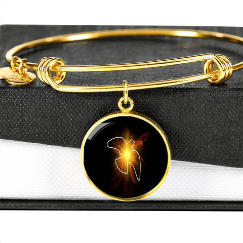 ShineOn Fulfillment Bangles Circle Pendant Gold Bangle / No Luxury Steel Charm Bangle - Lighted Dove (Round)