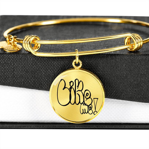 ShineOn Fulfillment Bangles Circle Pendant Gold Bangle / No Luxury Steel Charm Bangle - Like Me (Round)