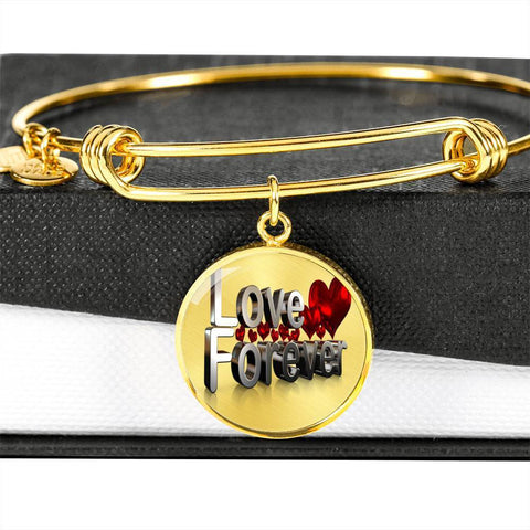 ShineOn Fulfillment Bangles Circle Pendant Gold Bangle / No Luxury Steel Charm Bangle - Love Forever (Round)