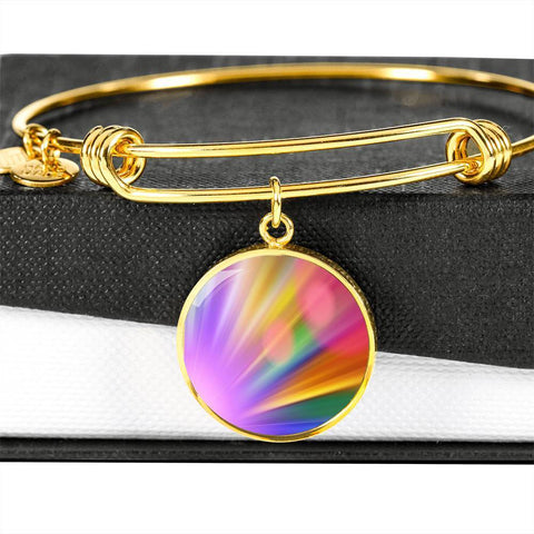 ShineOn Fulfillment Bangles Circle Pendant Gold Bangle / No Luxury Steel Charm Bangle - Rainbow Bokeh (Round)