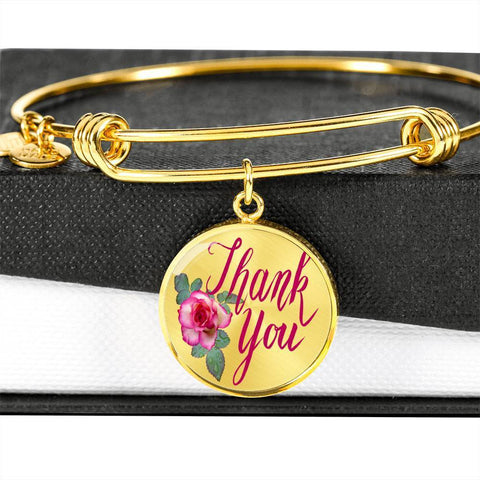 ShineOn Fulfillment Bangles Circle Pendant Gold Bangle / No Luxury Steel Charm Bangle - Thank You (Round)