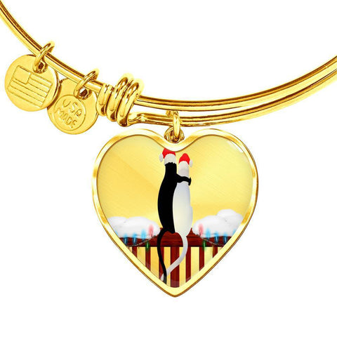 ShineOn Fulfillment Bangles Heart Pendant Gold Bangle / No Luxury Steel Charm Bangle - Cats Christmas (Heart)