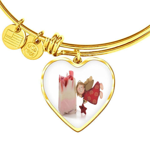 ShineOn Fulfillment Bangles Heart Pendant Gold Bangle / No Luxury Steel Charm Bangle  - Christmas Angel (Heart)