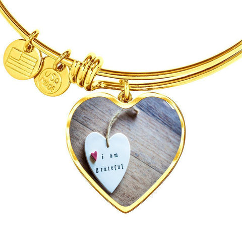 ShineOn Fulfillment Bangles Heart Pendant Gold Bangle / No Luxury Steel Charm Bangle - Grateful Heart (Heart)