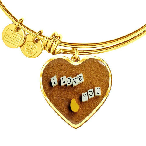 ShineOn Fulfillment Bangles Heart Pendant Gold Bangle / No Luxury Steel Charm Bangle - I Love You Blocks (Heart)