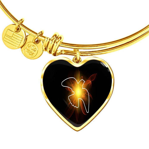ShineOn Fulfillment Bangles Heart Pendant Gold Bangle / No Luxury Steel Charm Bangle - Lighted Dove (Heart)