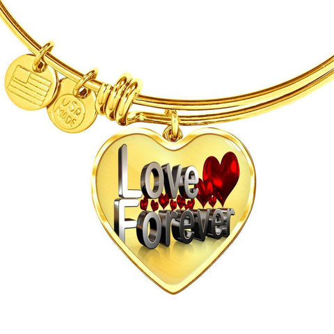ShineOn Fulfillment Bangles Heart Pendant Gold Bangle / No Luxury Steel Charm Bangle - Love Forever (Heart)