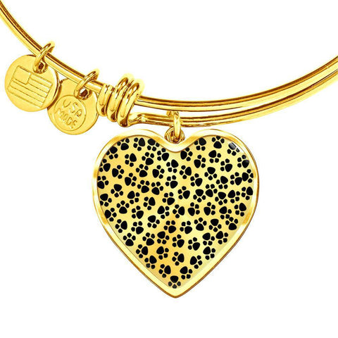 ShineOn Fulfillment Bangles Heart Pendant Gold Bangle / No Luxury Steel Charm Bangle - Paw Prints (Heart)