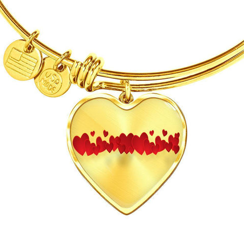 ShineOn Fulfillment Bangles Heart Pendant Gold Bangle / No Luxury Steel Charm Bangle - String of Hearts (Heart)