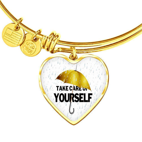 ShineOn Fulfillment Bangles Heart Pendant Gold Bangle / No Luxury Steel Charm Bangle - Take Care (Heart)
