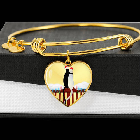 Image of ShineOn Fulfillment Bangles Heart Pendant Silver Bangle / No Luxury Steel Charm Bangle - Cats Christmas (Heart)