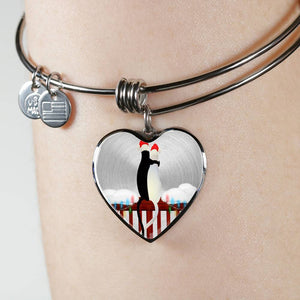 Luxury Steel Charm Bangle - Cats Christmas (Heart)