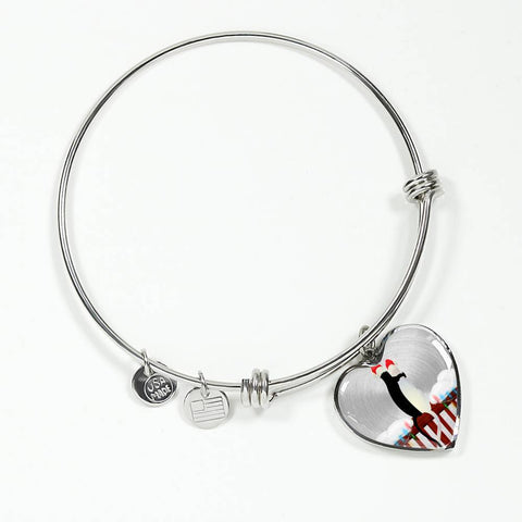 ShineOn Fulfillment Bangles Heart Pendant Silver Bangle / No Luxury Steel Charm Bangle - Cats Christmas (Heart)