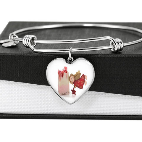 ShineOn Fulfillment Bangles Heart Pendant Silver Bangle / No Luxury Steel Charm Bangle  - Christmas Angel (Heart)
