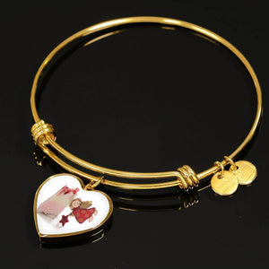 Luxury Steel Charm Bangle  - Christmas Angel (Heart)