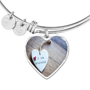 ShineOn Fulfillment Bangles Heart Pendant Silver Bangle / No Luxury Steel Charm Bangle - Grateful Heart (Heart)
