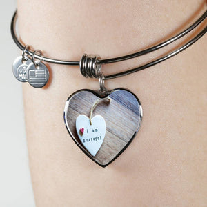 Luxury Steel Charm Bangle - Grateful Heart (Heart)