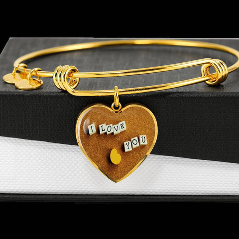 ShineOn Fulfillment Bangles Heart Pendant Silver Bangle / No Luxury Steel Charm Bangle - I Love You Blocks (Heart)