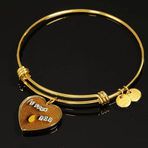 Luxury Steel Charm Bangle - I Love You Blocks (Heart)
