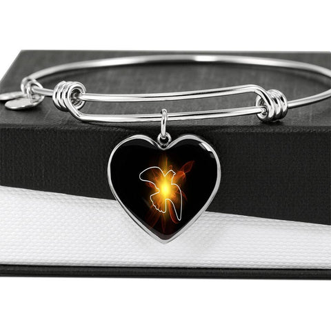 ShineOn Fulfillment Bangles Heart Pendant Silver Bangle / No Luxury Steel Charm Bangle - Lighted Dove (Heart)