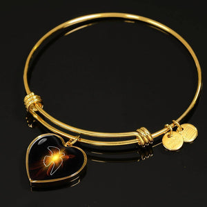 Luxury Steel Charm Bangle - Lighted Dove (Heart)