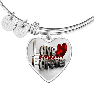 ShineOn Fulfillment Bangles Heart Pendant Silver Bangle / No Luxury Steel Charm Bangle - Love Forever (Heart)