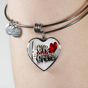 Luxury Steel Charm Bangle - Love Forever (Heart)