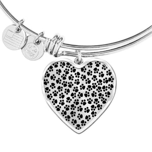 ShineOn Fulfillment Bangles Heart Pendant Silver Bangle / No Luxury Steel Charm Bangle - Paw Prints (Heart)