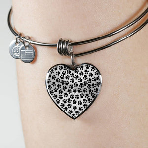 Luxury Steel Charm Bangle - Paw Prints (Heart)