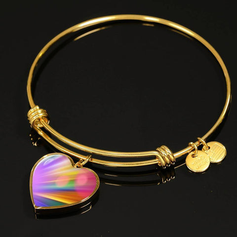 ShineOn Fulfillment Bangles Heart Pendant Silver Bangle / No Luxury Steel Charm Bangle - Rainbow Bokeh (Heart)