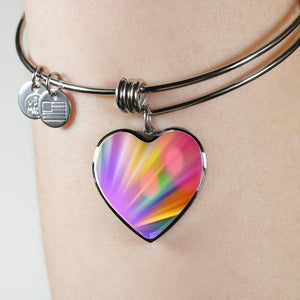 Luxury Steel Charm Bangle - Rainbow Bokeh (Heart)