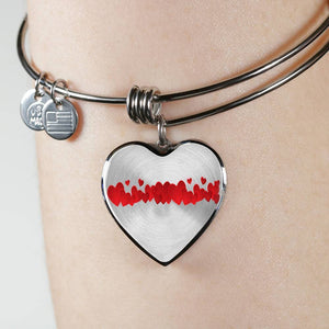 Luxury Steel Charm Bangle - String of Hearts (Heart)