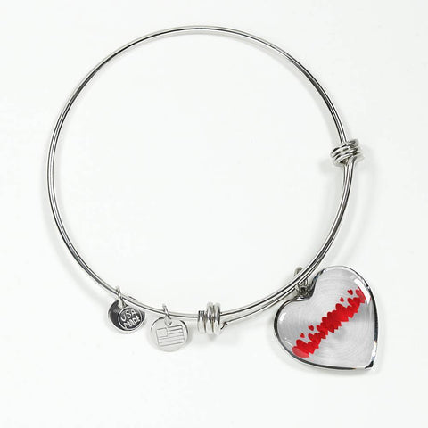 ShineOn Fulfillment Bangles Heart Pendant Silver Bangle / No Luxury Steel Charm Bangle - String of Hearts (Heart)