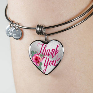 Luxury Steel Charm Bangle  - Thank You (Heart)