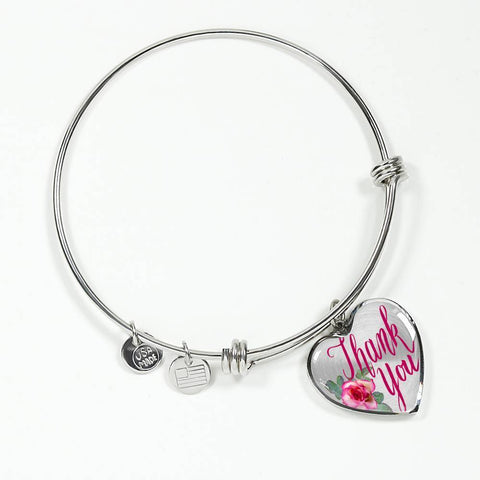 ShineOn Fulfillment Bangles Heart Pendant Silver Bangle / No Luxury Steel Charm Bangle  - Thank You (Heart)