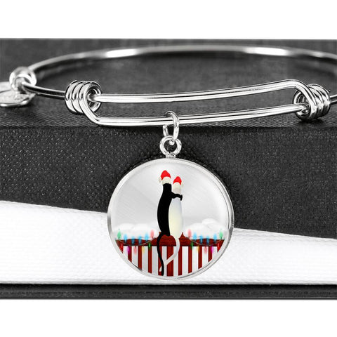 ShineOn Fulfillment Bangles Luxury Bangle (Silver) / No Luxury Steel Charm Bangle - Cats Christmas (Round)