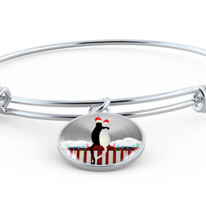 Luxury Steel Charm Bangle - Cats Christmas (Round)
