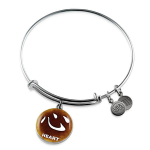 Luxury Steel Charm Bangle  - Chinese Character Heart (Round)