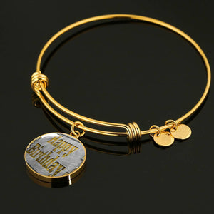 Luxury Steel Charm Bangle - Happy Birthday (Round)
