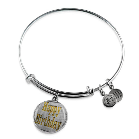 ShineOn Fulfillment Bangles Luxury Bangle (Silver) / No Luxury Steel Charm Bangle - Happy Birthday (Round)