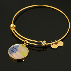 Luxury Steel Charm Bangle  - Happy Girls (Round)