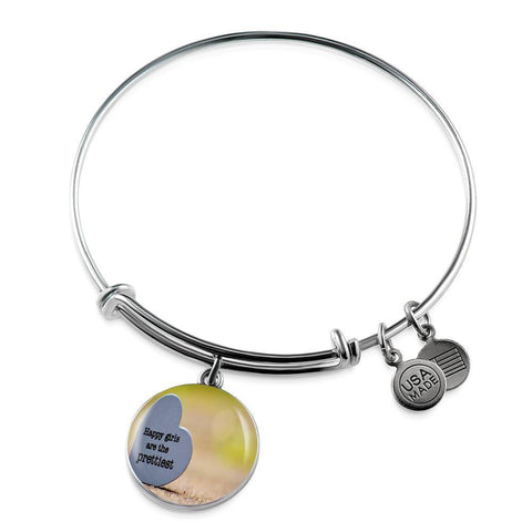 ShineOn Fulfillment Bangles Luxury Bangle (Silver) / No Luxury Steel Charm Bangle  - Happy Girls (Round)