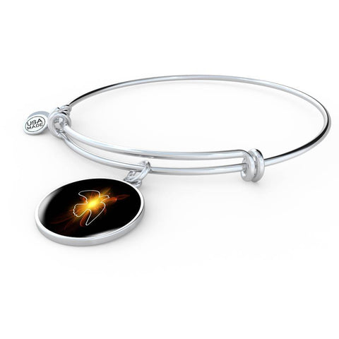 ShineOn Fulfillment Bangles Luxury Bangle (Silver) / No Luxury Steel Charm Bangle - Lighted Dove (Round)