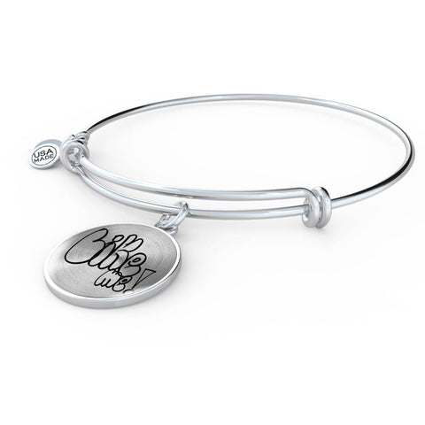 ShineOn Fulfillment Bangles Luxury Bangle (Silver) / No Luxury Steel Charm Bangle - Like Me (Round)
