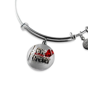 Luxury Steel Charm Bangle - Love Forever (Round)
