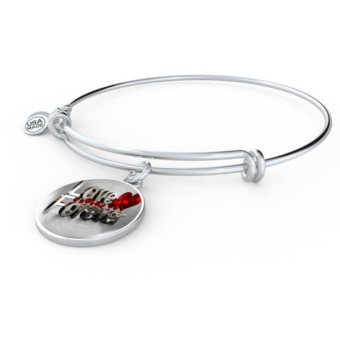 ShineOn Fulfillment Bangles Luxury Bangle (Silver) / No Luxury Steel Charm Bangle - Love Forever (Round)