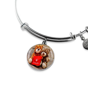 Luxury Steel Charm Bangle - Love You Mom (Round)